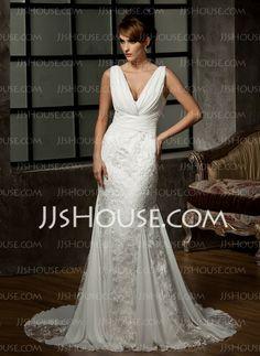 Vestidos de noiva - $212.99 - Sereia Decote V Cauda corte Chiffon laço Vestido de noiva com Pregueado (002000583) http://jjshouse.com/pt/Sereia-Decote-V-Cauda-Corte-Chiffon-Laco-Vestido-De-Noiva-Com-Pregueado-002000583-g583