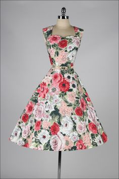 Vintage Fashion: Rhinestone Floral Dress and Caplet | From a collection of rare vintage evening dresses at http://www.1stdibs.com/fashion/clothing/evening-dresses/