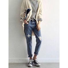 Boyfriend Distressed Ankle Jeans
