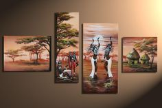 Multiple Canvas Art, Crayons Pastel, Acrylic Painting Lessons, Africa Art, Cross Stitch Flowers, Black Art, Beautiful Landscapes, Wall Prints, Cross Stitch Embroidery