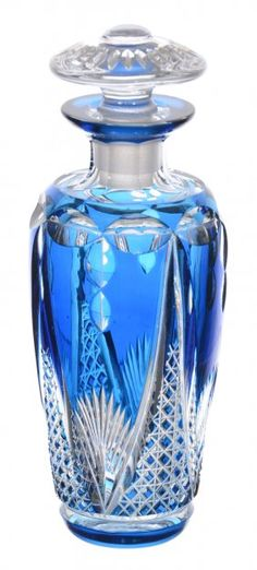 "5 3/4"" BLUE CUT TO CLEAR COLOGNE BOTTLE"