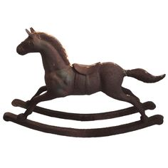 Monumental 19th Century Cast Iron Carousel Child's Rocking Horse