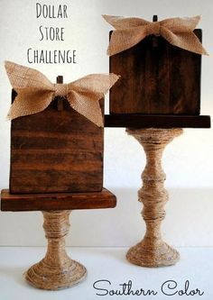 Candlestick Dollar Store Craft | Cool and Easy DIY Projects For The Home and More by Pioneer Settler at http://pioneersettler.com/dollar-store-crafts/