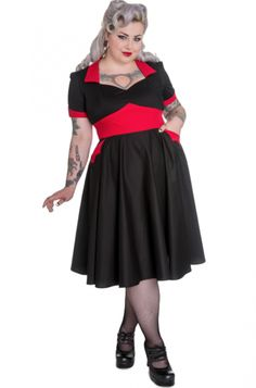 """Hell Bunny - """"Vampiress"""" 50's in Black and Red (plus size)"""