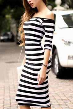 Striped Off-shoulder Half Sleeve Bodycon Dress