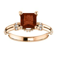 10kt Rose Gold 6mm Center Square Garnet and 28 Accent Genuine Diamonds Engagement Ring