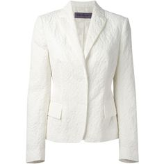 Emanuel Ungaro Floral Jacquard Blazer ($713) ❤ liked on Polyvore featuring outerwear, jackets, blazers, blazer, white, flower print jacket, emanuel ungaro, jacquard blazer, white blazer and emanuel ungaro jacket