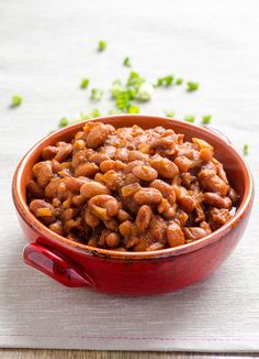 Clean Eating Slow Cooker BBQ Beans -- Made with dried beans and super simple and healthy homemade BBQ sauce. Perfect for potlucks and BBQ's. #glutenfree #vegan
