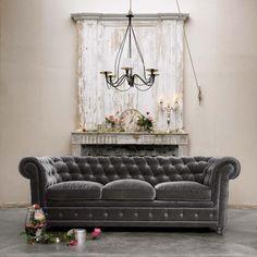 Love this opulent gray velvet sofa!  Gray Velvet Chesterfield Sofa from Maison Dumonde | DelysiaStyle