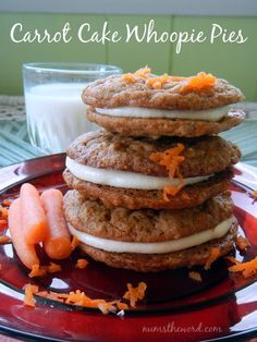 These Carrot Cake Whoopie Pies are absolutely amazing.  Two carrot cake cookies with a cream cheese frosting squished in the middle = HEAVEN.  Really these are amazing!