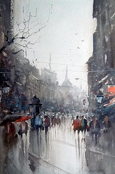 Rainy Knez (after a watercolor by Dusan Djukaric)