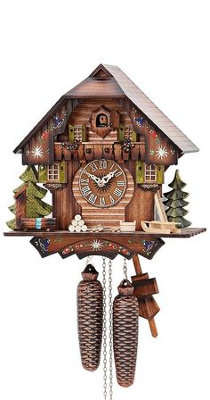 German Cuckoo Clock 8-day-movement Chalet-Style 13 inch - Authentic black forest #ISDDCuckooClocks