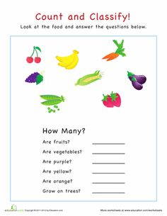 Worksheets: Count and Classify: Fruits and Vegetables  Sign up for so many great worksheets at education.com