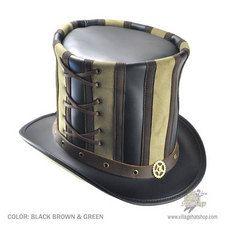 Head 'N Home Absinthe Stove Piper Top Hat (Black/Brown/Green)