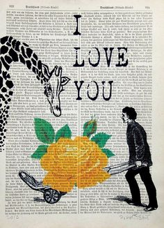 I LOVE YOU print poster mixed media painting by artretro on Etsy, $12.00