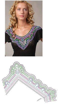 crochet yoke https://s-media-cache-ak0.pinimg.com/originals/c1/99/81/c19981d3693eba5cc8209274320337d4.jpg Crochet Shawl, Crochet Tops, Crochet Collar, Freeform Crochet, Crochet Motifs, Crochet Borders, Crochet Blouse, Thread Crochet, Irish Crochet