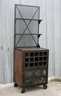Industrial Liquor Cabinet, Reclaimed wood Bar Cart. Wine bottle storage. Handmade and Customizable. Urban loft decor.