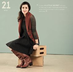 """""""I'll share a little secret with you. An easy way to take a sleeveless dress into the winter months is to layer it with a cardigan and a vest."""" -Kendi http://kendieveryday.blogspot.com/"""