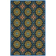 Really wish this was an outdoor rug.  This would match my burnt orange patio furniture fabulously and add a splash of color.  -- Safavieh Four Seasons Stain Resistant Hand-hooked Black Rug (5' x 8') | Overstock.com