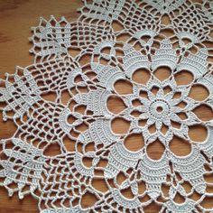 Doily image 6 Crochet Doily Patterns, Crochet Motif, Crochet Shawl, Crochet Doilies, Crochet Lace, Knitting Patterns, Crochet Table Runner, Crochet Tablecloth, Tatting Lace