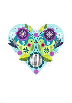 Blue Love Heart with birds and flowers print por EllenGiggenbach, $18.00