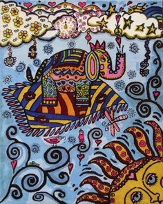 """magic elepant on a flying carpet  """"Haight-Ashbury"""" Teppich ca. 200x250 cm -  Preis 2150,00 € Hippie Art.  The beautiful motif is a design created by the artist Dawn Collins. Motif © by Dawn Collins, licensed by Porterfield's Fine Art Licensing."""
