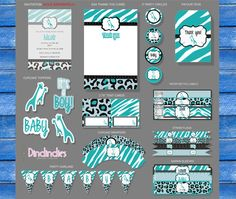 Teal/Turquoise Giraffe Wild Safari Baby Shower - MAY Mega Sale - Boy Baby Shower -  Instant Download - DIY Printable Party Collection