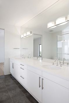 Remodeling Bathroom Design with White Cabinet, Modern Vanity & Mirror -  Mirror-mounted Sconces,  Modern Faucets,  Sconces,  Slate Tile &  Undermount Sinks