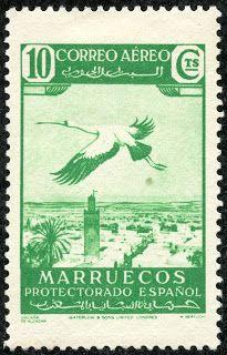 "Spanish Morocco  1938 Scott C2 10c emerald ""Stork of Alcazar"""