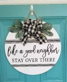 Wooden Door Signs, Front Door Signs, Wooden Door Hangers, Porch Signs, Front Door Decor, Wood Signs, Custom Door Hangers, Dollar Tree Crafts, Hand Painted Signs