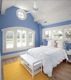 Shingle Beach House with Classic Coastal Interiors - Love this shade of blue
