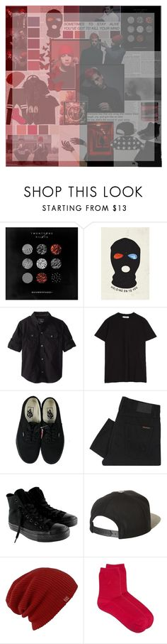 """""""Twenty One Pilots"""" by dark-haven ❤ liked on Polyvore featuring BCBGMAXAZRIA, Baker & Taylor, Calvin Klein, Sefton, Vans, Nudie Jeans Co., Converse, Brixton, Burton and agnès b."""