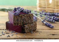 organic  lavender soap on rustic wooden table background