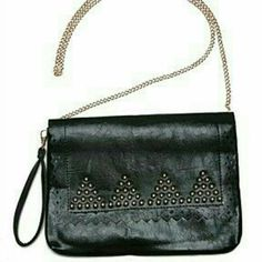 "Large trendy studded black clutch handbag New Trendy black faux leather clutch bag with stud detail  Comes with two removable straps, wristlet strap and long chain strap.  12"" long x 9.5"" tall. Inside zipper wall pocket. Brand new from our boutique. Bags Clutches & Wristlets"