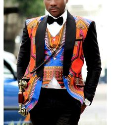 Mens tailored Jacket with Waist coat made with very Quality Dashiki Fabric. Made to order. All our outfits are tailored from scratch creating the