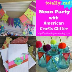 Neon Party with products from American Crafts Glitter #americancrafts #neon #glitter #papercrafting #yesterdayontuesday