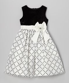 Look at this #zulilyfind! Black & White Glitter Diamond Dress - Girls by Jayne Copeland #zulilyfinds