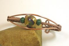 Copper Woven Wire With Fall Colored Lampwork Lentil Bead Cuff Bracelet