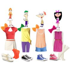 Phineas and Ferb inspired Disney Character Outfits, Cute Disney Outfits, Disney Themed Outfits, Character Inspired Outfits, Cartoon Outfits, Disney Bound Outfits, Disney Dresses, Cool Outfits, Cute Group Halloween Costumes