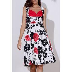 Floral Print Sweetheart Neck Sleeveless Ball Gown Dress For Women #shoes, #jewelry, #women, #men, #hats