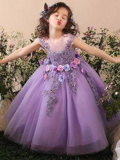 c655f3cac3c Handmade Flower Embroidery Tulle Fluffy Princess Long Dress Kids Gown