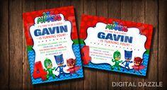 PJ Masks Invitation   Invite   Super hero   Invite   Invitation   Birthday   Party   Digital File by DigitalDazzle on Etsy https://www.etsy.com/listing/256584060/pj-masks-invitation-invite-super-hero