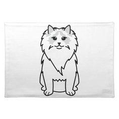 Ragdoll Cat Cartoon Cloth Placemat