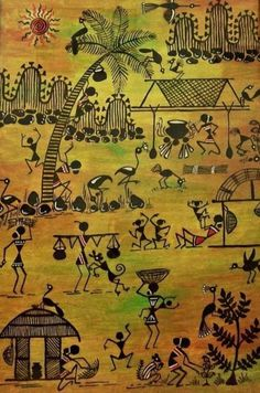 Tribals I by Ivy Sharma - Tribals I Painting - Tribals I Fine Art Prints and Posters for Sale Madhubani Art, Madhubani Painting, Art Indien, Worli Painting, African Art Paintings, Abstract Paintings, Indian Folk Art, Traditional Paintings, Traditional Art