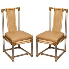 1stdibs   Pair of lucite and bamboo side chairs, McGuire c.1970