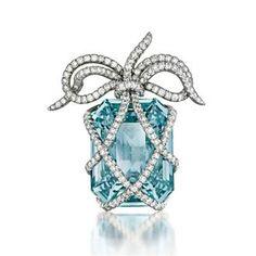Aquamarine and Diamond Wrapped Brooch, by Verdura