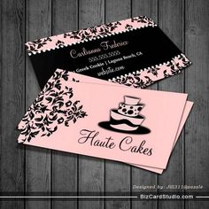 Chic And Elegant Cake Bites Business Cards Business Card Templates - Cake business card template