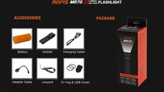 Rofis MR70 XHP70.2 CW+XP-G2 NW 3500LM Dual Light Multifunction Rechargeable LED Flashlight +26650 Rechargeable Led Flashlight, Light Flashlight, Holiday Lights, Led Strip, Strip Lighting, Bulb, Linear Lighting, Onions, Light Bulb