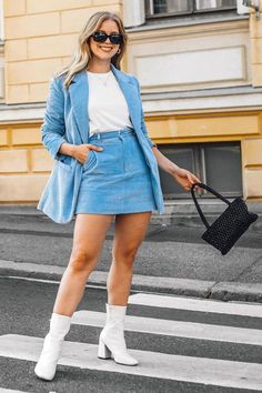 Everyone is going crazy for H&M's pastel blue corduroy suit, and we can certainly see why. Shop the look here. Crazy Outfits, Casual Outfits, Cute Outfits, Summer Outfits, Skirt Outfits Modest, Blue Denim Skirt, Denim Skirts, Midi Skirts, Long Skirts