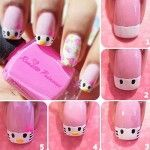 DIY Easy Hello Kitty Nail Art Pictures, Photos, and Images for . Cute Pink Nails, Pink Nail Art, Pretty Nails, White Nail Designs, Simple Nail Designs, Nail Art Designs, Beginner Nail Designs, Nail Art For Beginners, Easy Nail Art